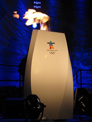 2010 Winter Olympics torch relay - Photo of one of the miniature displays used to show the flame during the community celebrations.