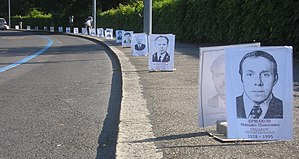 Chernobyl disaster - Deceased Chernobyl liquidators portraits used for an anti-nuclear power protest in Geneva