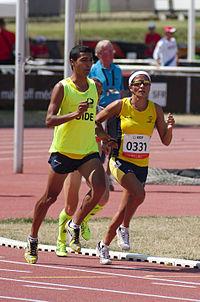 2013 IPC Athletics World Championships - 26072013 - Maritza Arango Buitrago and Jonathan Sanchez Gonzalez of Colombia during the Women's 1500m - T12 first semifinal.jpg