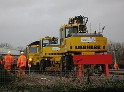 2014 Taunton track renewals - on track plant and Freightliner 66524.JPG