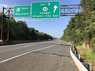 Bellmawr, New Jersey - View south along the New Jersey Turnpike at Exit 3 in Bellmawr