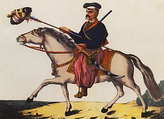 Cossacks - Victorious Zaporozhian Cossack with the head of a Tatar, 1786 print