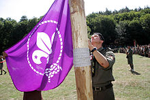 2nd Ukrainian Scout Jamboree 2009 opening ceremony - WOSM flag.jpg