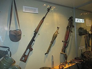 South African Border War - Equipment of Soviet origin supplied to SWAPO. From left to right: satchel, Dragunov sniper rifle, PG-7V RPG projectile, and RPG-7 launcher.