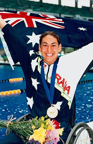 Swimming at the 1996 Summer Paralympics - Australian gold medalist Priya Cooper after presentation ceremony