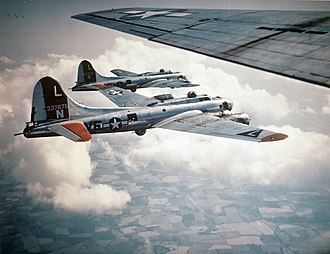 """381st Training Group - Boeing B-17G-70-BO Flying Fortress, AAF Ser. No.  43-37675, of the 532d Bomb Squadron en route to targets over Nazi-occupied territory. Named """"Patches"""", """"Flak Magnet"""" and """"Trudie's Terror"""" by various aircrews, This aircraft survived the war and was retired to Kingman AAF Arizona on 17 December 1945."""