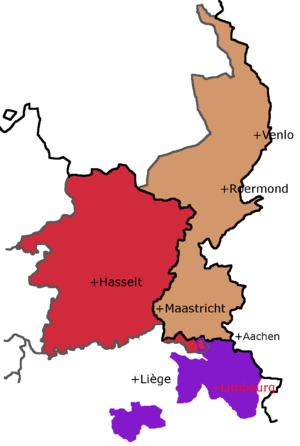 Duchy of Limburg - This shows the two modern provinces called Limburg next to the medieval Duchy they are both named after. The small overlap is Teuven and Remersdaal, in eastern Voeren, a part of modern Belgian Limburg since 1977.