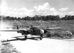 Carney Airfield - A Northrop P-61 Black Widow of the 419th Night Fighter Squadron taxiing at Carney Airfield in 1944