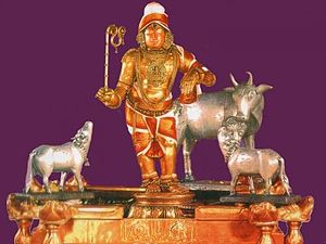 Mannargudi - Rajagopalaswamy of Mannargudi with Cows