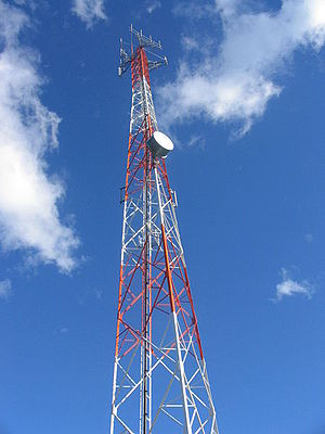 Antenna tower supporting several antennas. The...
