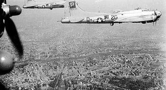RAF Lavenham - Lockheed/Vega B-17G-85-VE Fortress Serial 44-8878 of the 836th Bomb Squadron over Paris.