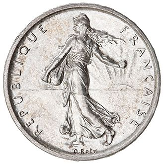 "Walking Liberty half dollar - Oscar Roty's ""Sower"" design for French coins may have inspired Weinman's obverse."