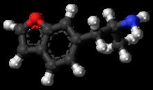 Pilk-kaj-bastona modelo de la 6-APB molekulo