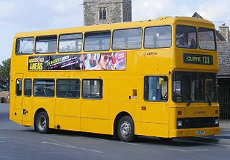 Arriva Southern Counties - Arriva Medway Towns Northern Counties Palatine bodied Volvo Citybus in the schoolbus livery in Cliffe in August 2009