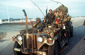 M151 ¼-ton 4×4 utility truck - Soldiers of the 82nd Airborne Division in a heavily loaded M151 during Operation Urgent Fury