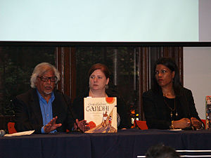 """Arun Manilal Gandhi - From left to right: Gandhi, his Grandfather Gandhi co-author Bethany Hegedus, and Ilyasah Shabazz, daughter of Malcolm X, speaking on the """"Peace: The Next Generation"""" panel at the 2014 Brooklyn Book Festival on the topic of growing up a child of a political figure"""