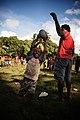 AFL Solomon Islands counterpart Job Vulita running a junior AFL clinic at Kobito. (10664953846).jpg