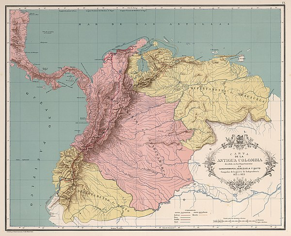 The departments of Gran Colombia in 1820 AGHRC (1890) - Carta IX - Guerras de independencia en Colombia, 1821-1823.jpg