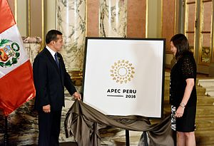 APEC Peru 2016 - President Ollanta Humala and Foreign Minister Ana María Sánchez unveils the logo of the APEC Summit.