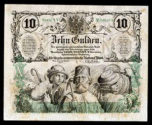 Joseph von Führich - Image: AUS A89 Austria 10 Gulden (1863)