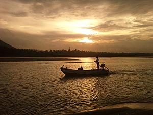 Gosthani River - Boat in River Gosthani at Bheemunipatnam