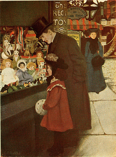 gentleman and girl looking at dolls displayed in a shop window