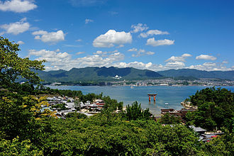 Itsukushima - An aerial view of the Itsukushima-jinja torii and the main island from the ropeway/hiking trails of Miyajima.