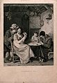 A family playing cards; the husband is looking over his wife Wellcome V0040214.jpg