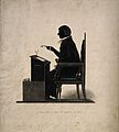 A silhouette of a barrister wearing wig, gown and holding sp Wellcome V0015850.jpg