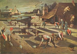 Gardener - Gardeners at work, painting by Abel Grimmer, Flemish painter, 1607