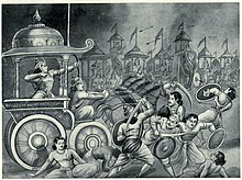 Abhimanyu killing the famous warriors of kaurava army.jpg