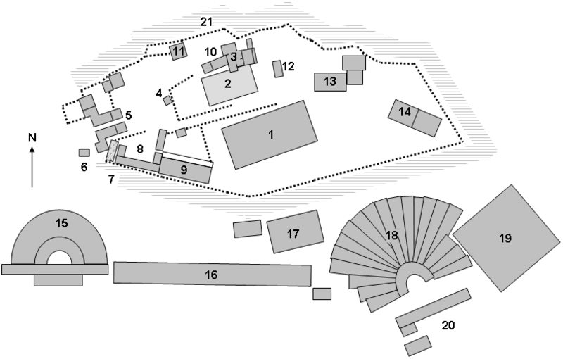 Site plan of the Acropolis, Athens showing major archaeological remains.