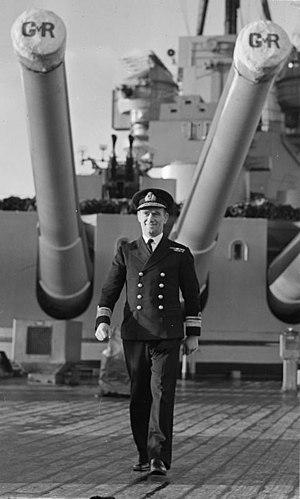 Michael Denny - Denny  on the quarterdeck of HMS King George V in 1943