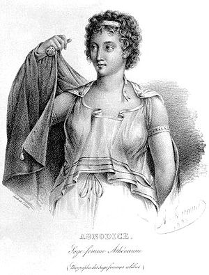 Agnodice - Agnodice in her disguise as a male physician, imagined here not as lifting her tunic to reveal her true sex, but as opening her outer garment to show that she has breasts.