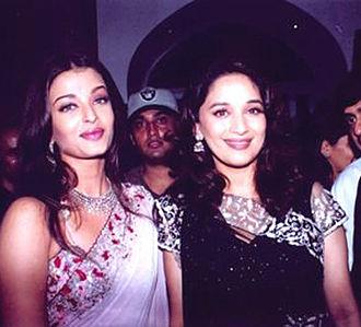 Aishwarya Rai - Rai with her co-star Madhuri Dixit at the premiere of their film Devdas in 2002