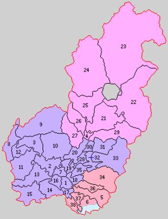 Semboku District, Akita - Historic Map of Semboku District:  Purple - Daisen-shi  1. Ōmagari 2. Jinguji 3. Shinkariwano 7. Hanadate 8. Yodokawa 9. Arakawa 10. Tsuchikawa 11. Ozawagō 12. Kowakubi 13. Minaminaraoka 14. Uchiotomo 15. Sotootomo 16. Ōkawa-Nishine 17. Fujiki 18. Takanashi 19. Yotsuya 20. Nagano 28. Shimizu 30. Toyokawa 31. Toyooka 32. Yokozawa 33. Nagashida 35. Yokobori  Light Blue - now part of Yokote-shi  6. Kanazawa (southern portion)  Pink - Semboku-shi  4. Kakunodate 21. Jindai 22. Obonai 23. Tazawa 24. Hinokinai 25. Saimyōji 26. Nakagawa 27. Kumosawa 29. Shiraiwa  Salmon - Misato-machi  5. Rokugō 6. Kanazawa (northern portion) 34. Senya 36. Hataya 37. Iizume 38. Kanazawa-Nishine