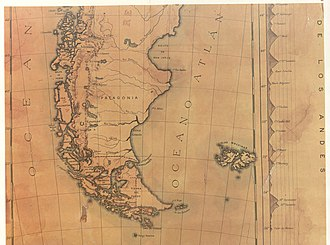 Boundary Treaty of 1881 between Chile and Argentina - A map from 1884.