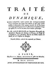 Jean Le Rond d'Alembert: Traité de dynamique, 1758