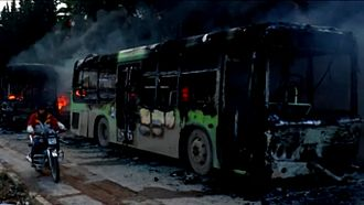 Battle of Aleppo (2012–2016) - JFS rebels burnt buses meant to evacuate sick and elderly civilians from two rebel-besieged villages concurrently to the Aleppo evacuations.