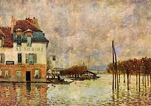 Pays des Impressionnistes - L'Inondation à Port-Marly (1876) by Alfred Sisley