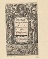 Allegorische titelpagina met portret van Publius Ovidius Naso Titelpagina voor Publius Ovidius Naso, Metamorphosis, 1637, RP-P-1964-3401.jpg