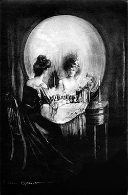 "lady at round mirror and dressing table resembling a skull ""All is Vanity"" by C. Allan Gilbert"