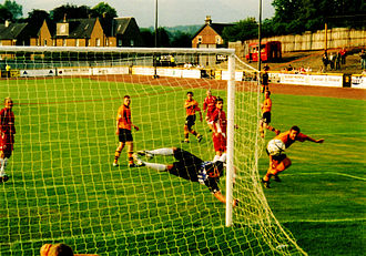 Alloa Athletic F.C. - Stirling Albion shooting against the Alloa goal and missing in August 2006