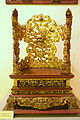 Altar in the shape of a chair, Nguyen dynasty, 19th to early 20th century, crimson and gilded wood, view 1 - National Museum of Vietnamese History - Hanoi, Vietnam - DSC05625.JPG