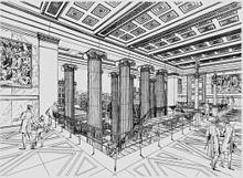 Treppenanlage für das Alte Museum, Zeichnung von Schinkel, 1829 (Quelle: Wikimedia)