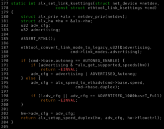 Snake case - Piece of code from a module of the Linux kernel, which uses snake case for identifiers.