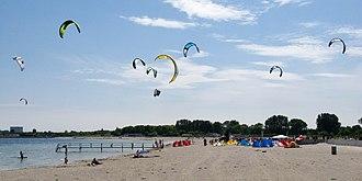 Amager Strandpark - Image: Amager Strandpark kite surfers
