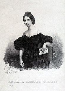 Lithography of S. Matteucci: Amalia Schütz Oldosi (1837) (Source: Wikimedia)