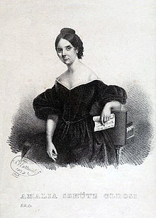 Lithografie von S. Matteucci: Amalia Schütz Oldosi (1837) (Quelle: Wikimedia)