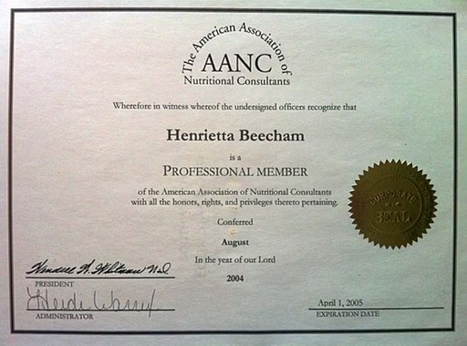 American Association of Nutritional Consultants diploma